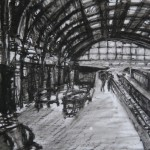 St. Pancras, Oil Pastel on Drafting Film, 19.4 x 28.5 cm