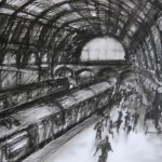 St. Pancras, Oil on Pastel on Drafting Film, 19.2 x 28 cm