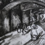 Underpass, Oil Pastel on Drafting Film, 28.1 x 19.1 cm