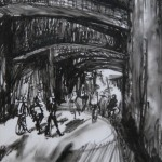 Underpass, Oil Pastel on Drafting Film, 27.6 x 19.7 cm